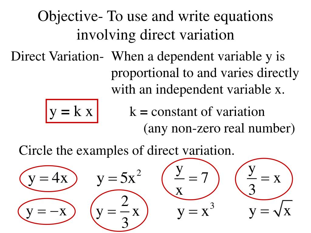 Direct Variation Equation Examples