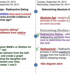 2014 wednesday september 24 2014 absolute age radioactive dating determining absolute age essential questions leave space to answer 1  [ 1024 x 768 Pixel ]