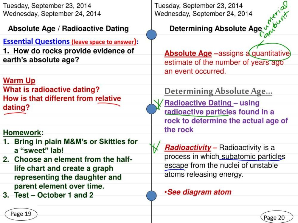 medium resolution of  2014 wednesday september 24 2014 absolute age radioactive dating determining absolute age essential questions leave space to answer 1