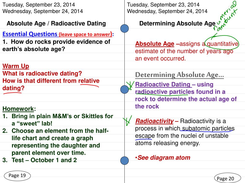 hight resolution of  2014 wednesday september 24 2014 absolute age radioactive dating determining absolute age essential questions leave space to answer 1