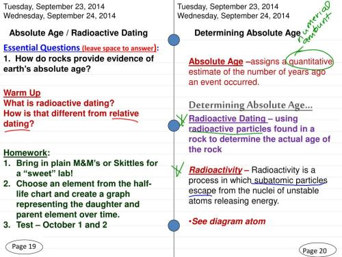 small resolution of  2014 wednesday september 24 2014 absolute age radioactive dating determining absolute age essential questions leave space to answer 1