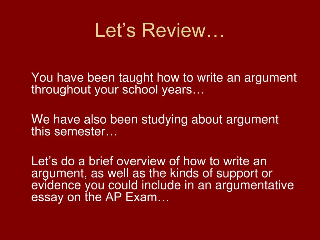 PPT - The AP Argumentative Essay PowerPoint Presentation. free download - ID:5573336
