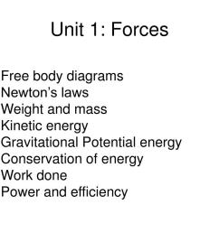 free body diagrams newton s laws weight and mass kinetic energy gravitational potential energy conservation of energy work done power and  [ 1024 x 768 Pixel ]
