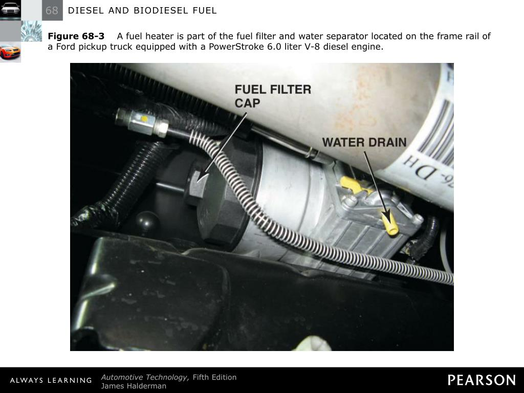 hight resolution of  filter and water separator located on the frame rail of a ford pickup truck equipped with a powerstroke 6 0 liter v 8 diesel engine