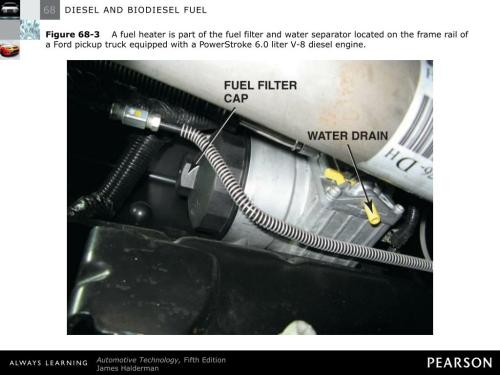 small resolution of  filter and water separator located on the frame rail of a ford pickup truck equipped with a powerstroke 6 0 liter v 8 diesel engine