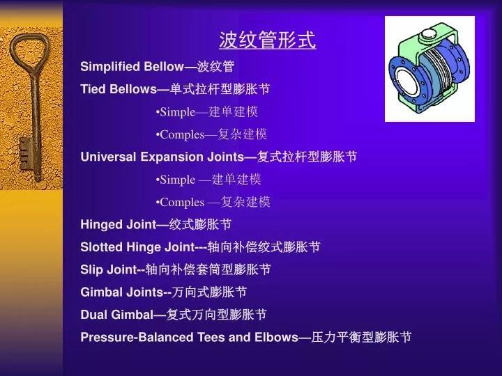 PPT - 波紋管形式 Simplified Bellow— 波 紋管 Tied Bellows— 單 式拉桿型膨脹節 Simple— 建 單建模 Comples— 復 雜建模 ...