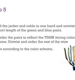 the jacket and cable in one hand and untwist a short length of the green and blue pairs reorder the pairs to reflect the t568b wiring color scheme  [ 1024 x 768 Pixel ]