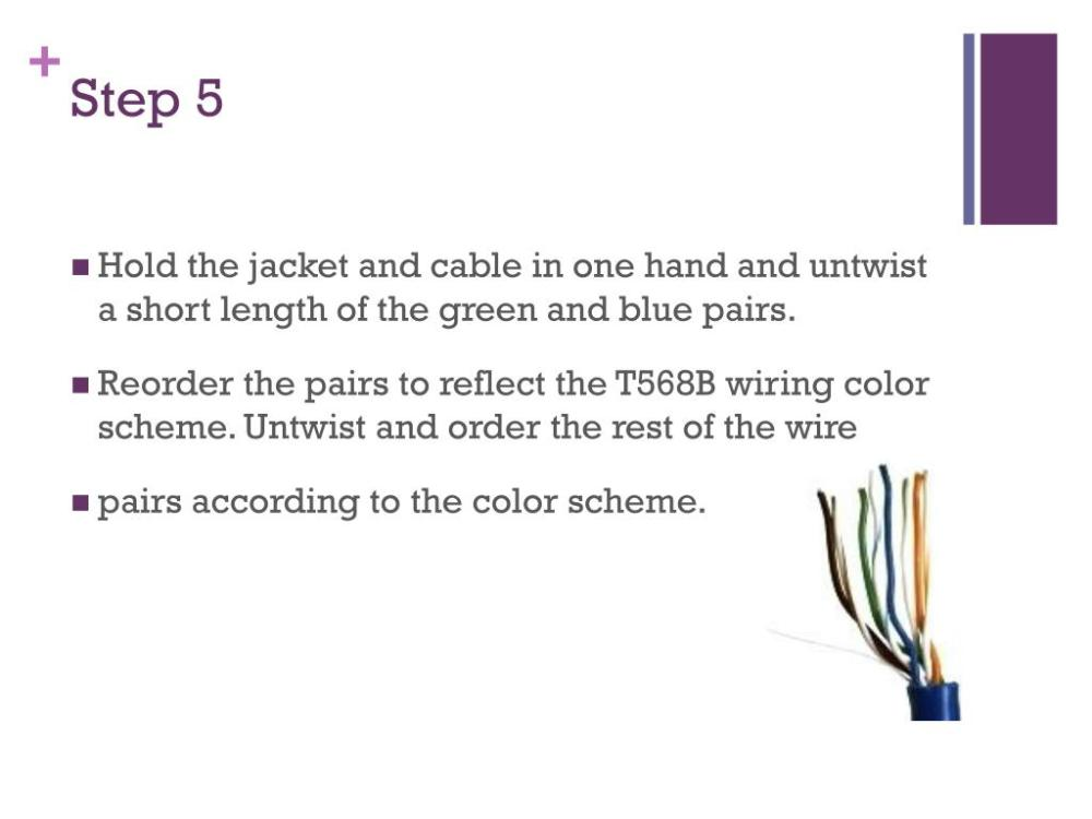 medium resolution of  the jacket and cable in one hand and untwist a short length of the green and blue pairs reorder the pairs to reflect the t568b wiring color scheme