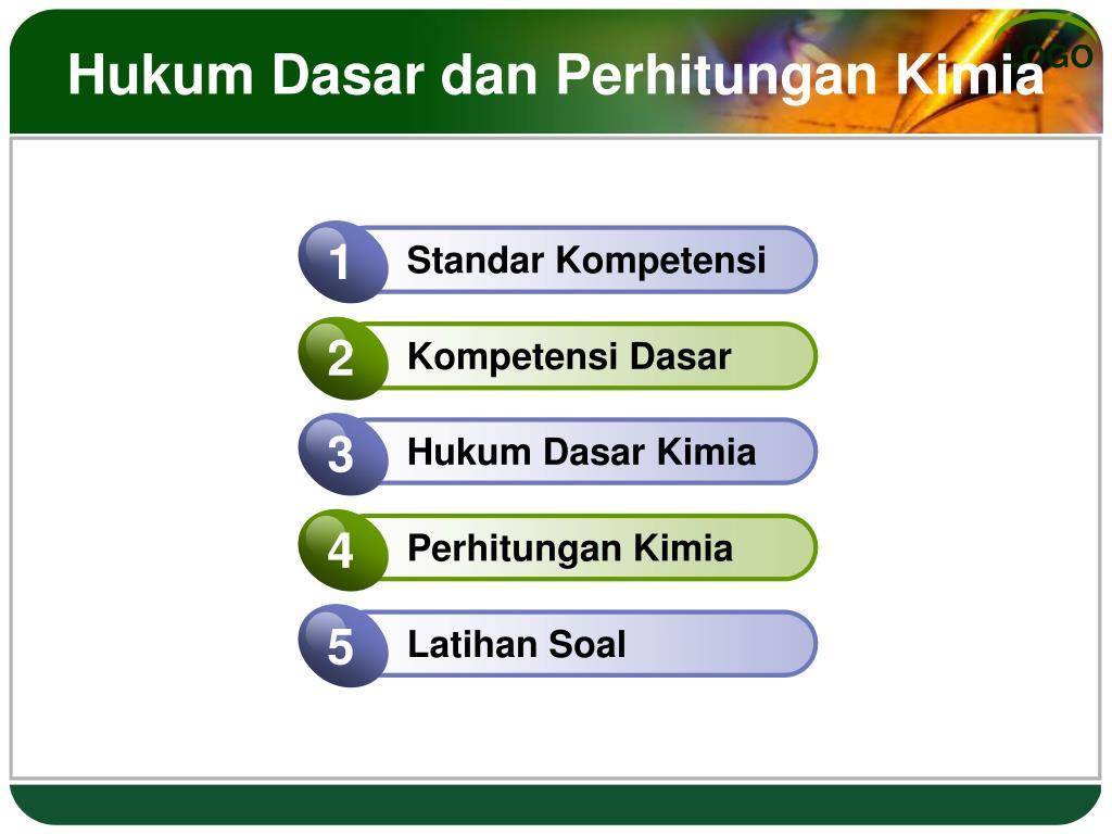Tingkat kemurnian bahan kimia (2) diunggah oleh. PPT - Hukum Dasar dan Perhitungan Kimia PowerPoint