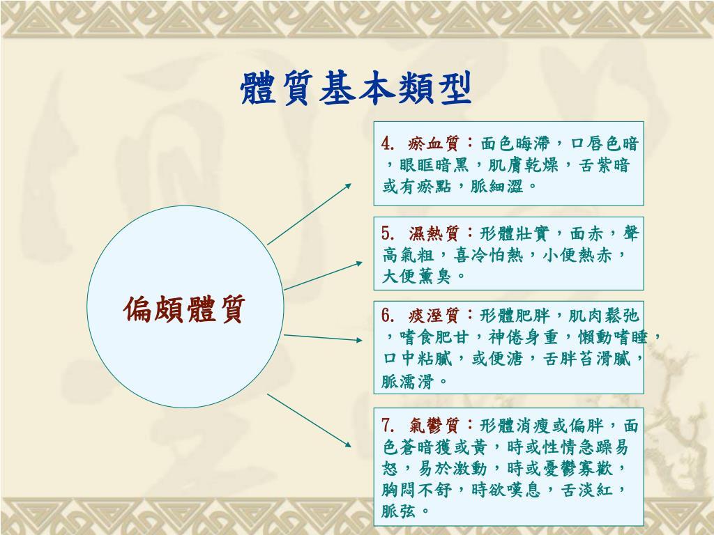 "PPT - 中醫 "" 體質養生 "" 理論 應用及研究 PowerPoint Presentation - ID:5993568"