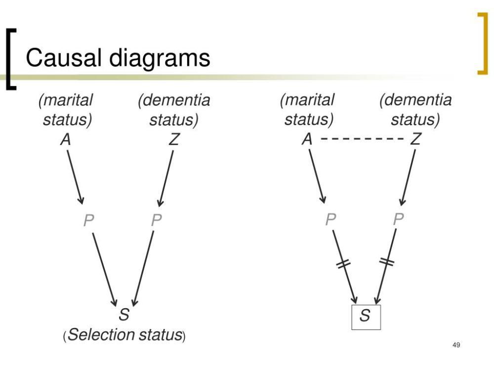 medium resolution of causal diagrams marital status a dementia status z marital status a dementia status z p p p p s s selectionstatus