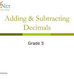 PPT - Adding \u0026 Subtracting Decimals PowerPoint Presentation [ 901 x 1024 Pixel ]