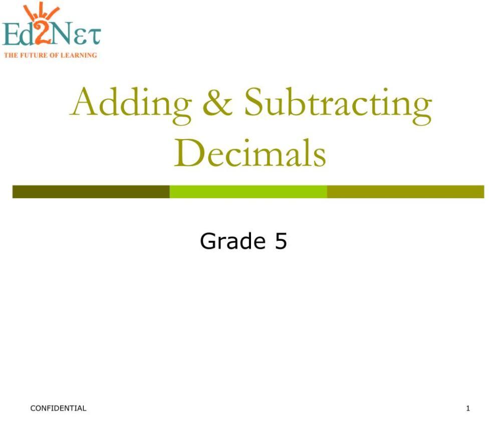 medium resolution of PPT - Adding \u0026 Subtracting Decimals PowerPoint Presentation