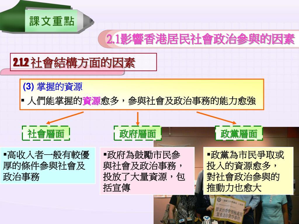 PPT - 瞭解影響香港居民社會政 治參與的因素 PowerPoint Presentation - ID:6055290