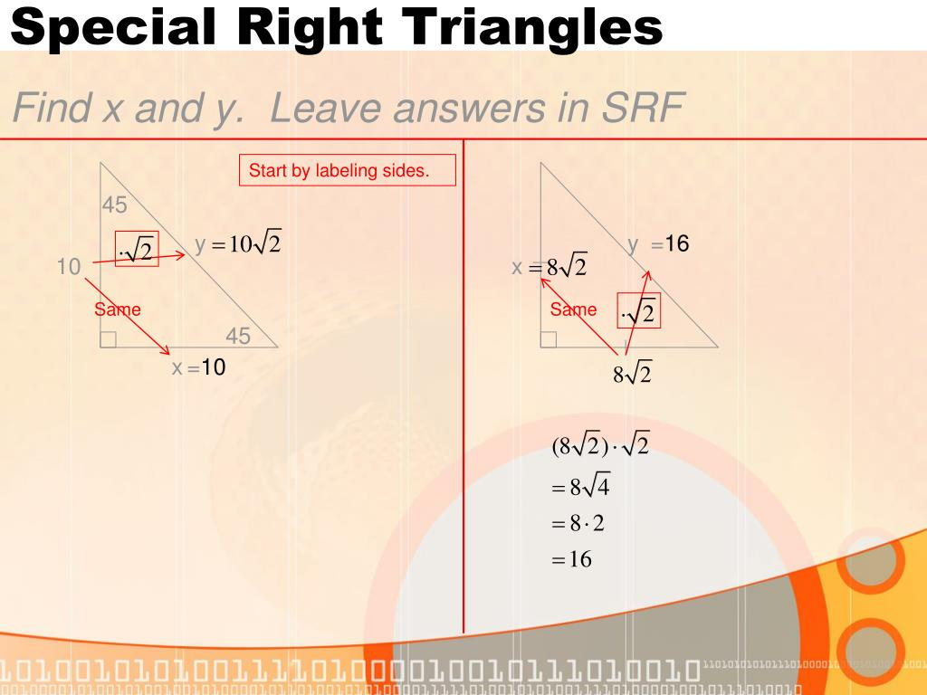8 2 Special Right Triangles