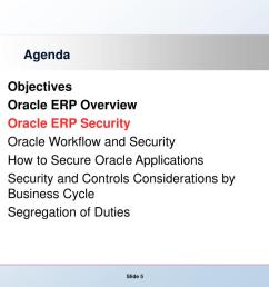 agenda objectives oracle erp overview oracle erp security oracle workflow and security how to secure oracle applications security and controls  [ 1024 x 768 Pixel ]