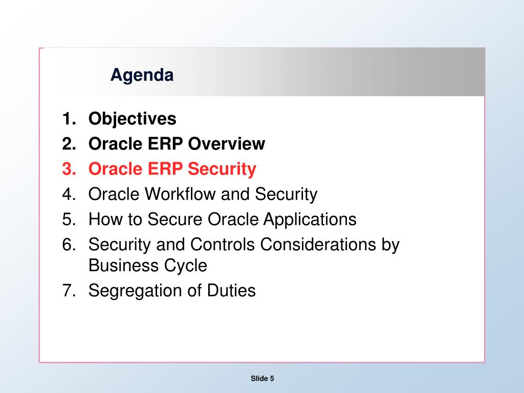 hight resolution of agenda objectives oracle erp overview oracle erp security oracle workflow and security how to secure oracle applications security and controls