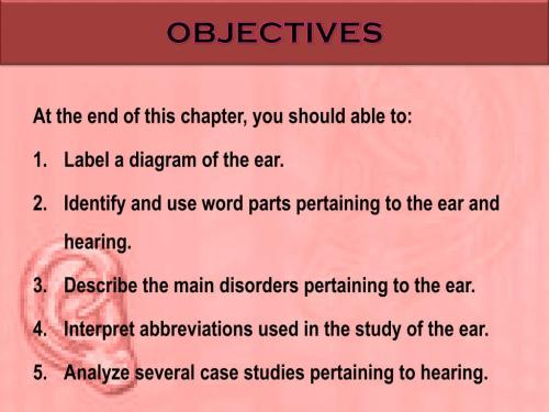 small resolution of objectives at the end of this chapter you should able to label a diagram of the ear identify and use word parts pertaining to the ear and hearing