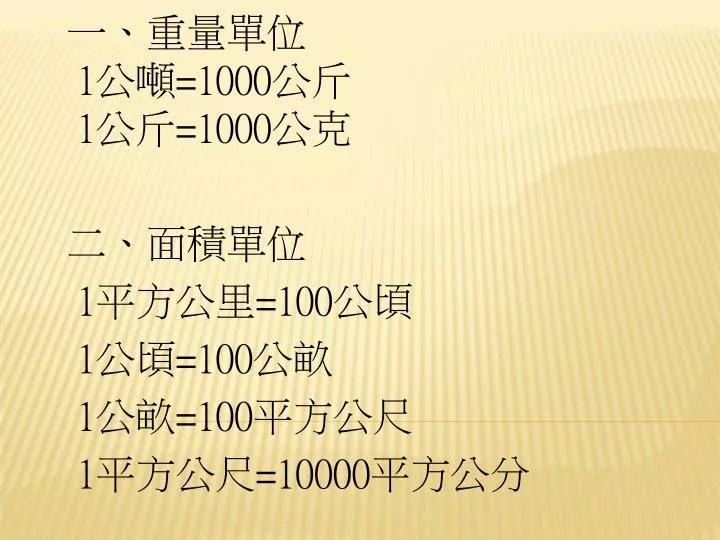 PPT - 一,重量單位 1 公噸 =1000 公斤 1 公斤 =1000 公克 二 ,面積單位 1 平方公里 =100 公頃 1 公頃 =100 公畝 1 公畝 ...