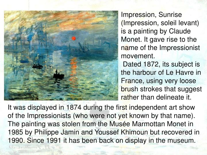 impression sunrise impression soleil levant is a painting