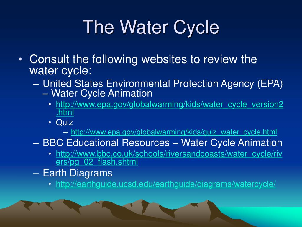 hight resolution of the water cycle consult the following websites to review the water cycle united states environmental protection agency epa water cycle animation