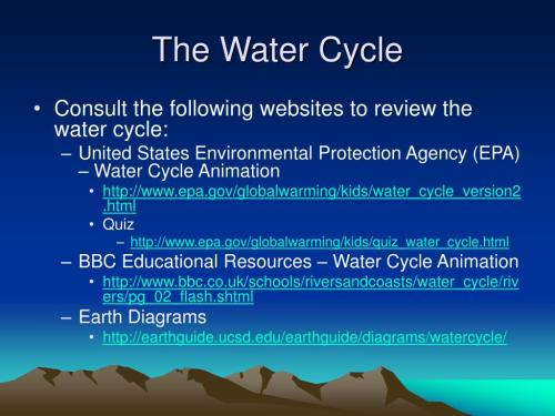 small resolution of the water cycle consult the following websites to review the water cycle united states environmental protection agency epa water cycle animation