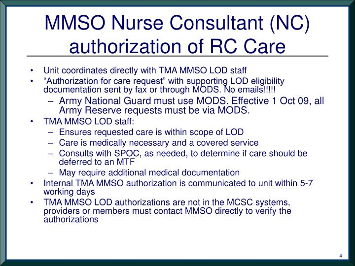 PPT  TMA MMSO Reserve Component Line of Duty Care in