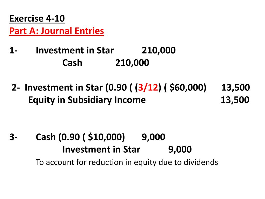 PPT - Exercise 4-6 Part A: Journal Entries Investment in Sales 350.000 PowerPoint Presentation - ID:6541824