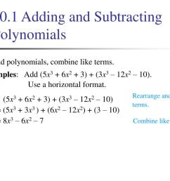 PPT - 10.1 Adding and Subtracting Polynomials PowerPoint Presentation [ 768 x 1024 Pixel ]