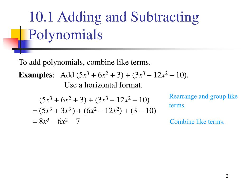 hight resolution of PPT - 10.1 Adding and Subtracting Polynomials PowerPoint Presentation