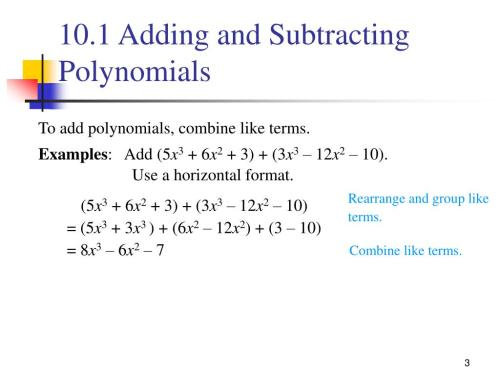 small resolution of PPT - 10.1 Adding and Subtracting Polynomials PowerPoint Presentation