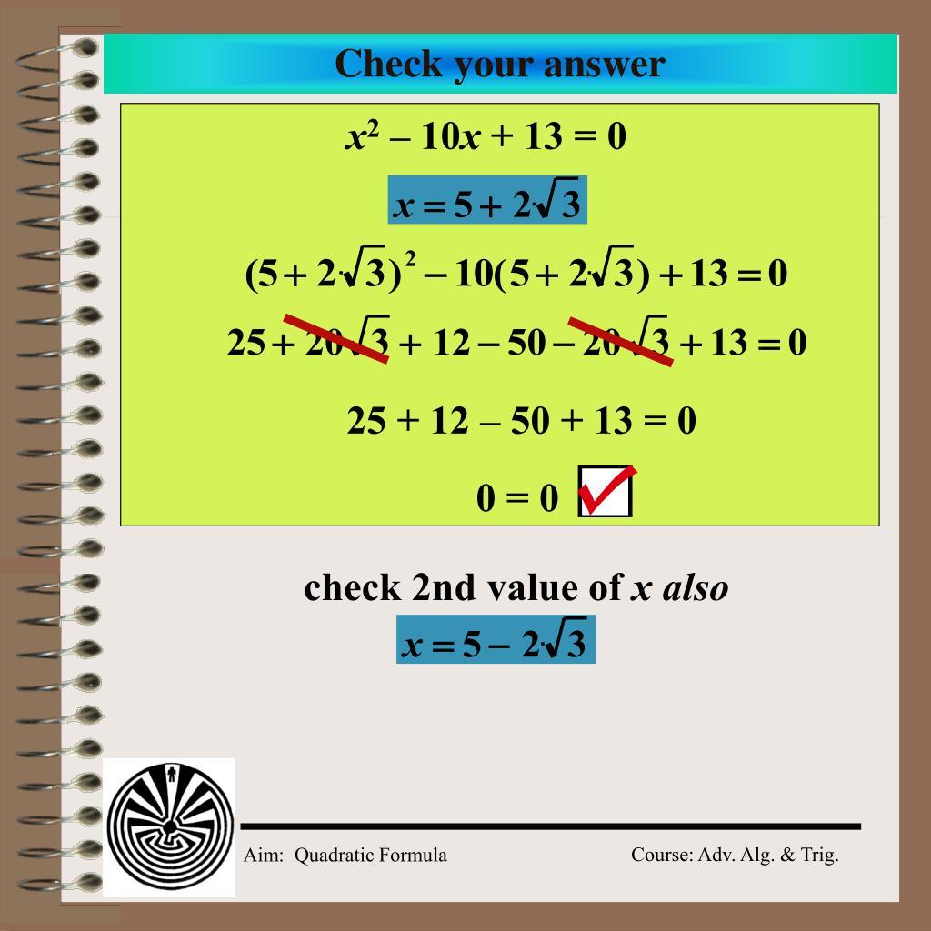 Quadratic Formula Simplest Radical Form Worksheet