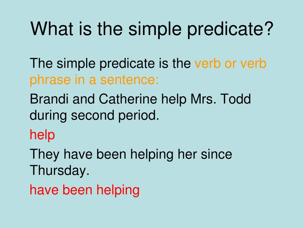What Is A Simple Predicate In A Sentence
