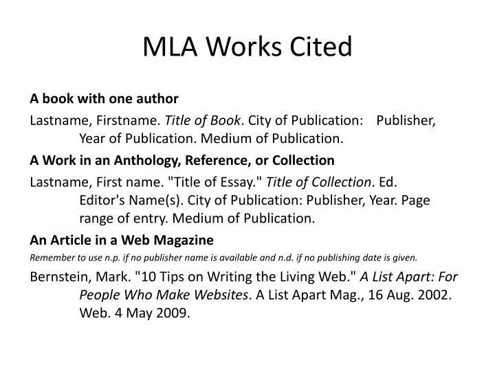 Ppt  Mla Works Cited Powerpoint Presentation  Id6798633