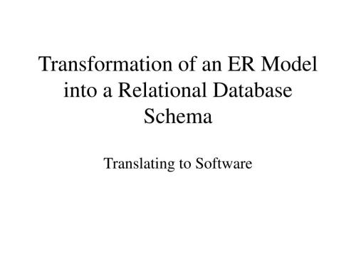 small resolution of transformation of an er model into a relational database schema n