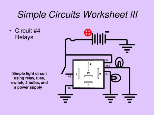 small resolution of simple circuits worksheet lii circuit 4 relays 30 87a simple light circuit using
