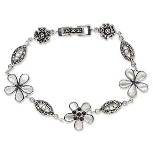 Bracelet, Signity® marcasite / mother-of-pearl shell