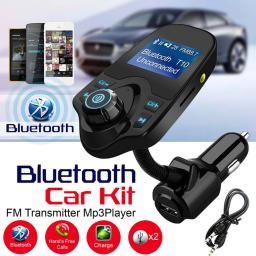 Hands-free Bluetooth Car Kit MP3 Music Player FM Transmitter 5V 2.1A USB  Car Charger 1.44