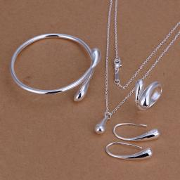 New Fashion Solid Silver Jewelry Sets Necklace+Bracelet+ Ring +1 Pair  Earrings