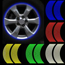 16Pcs 18inch StripsMotorcycle Car Rim Stripe Wheel Decal Tape Sticker Lots  Reflective