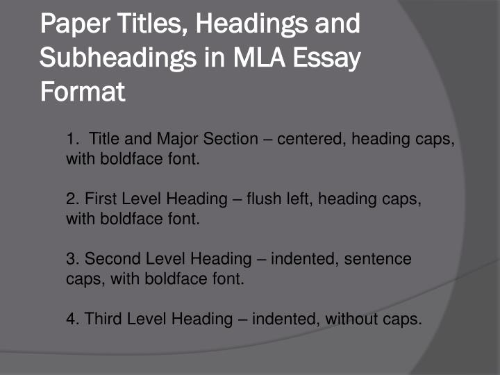 Mla Research Paper Subheadings Mla College Research