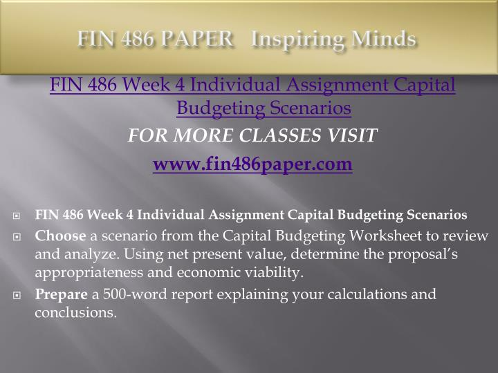 Fin 486 capital budgeting worksheet College paper Service