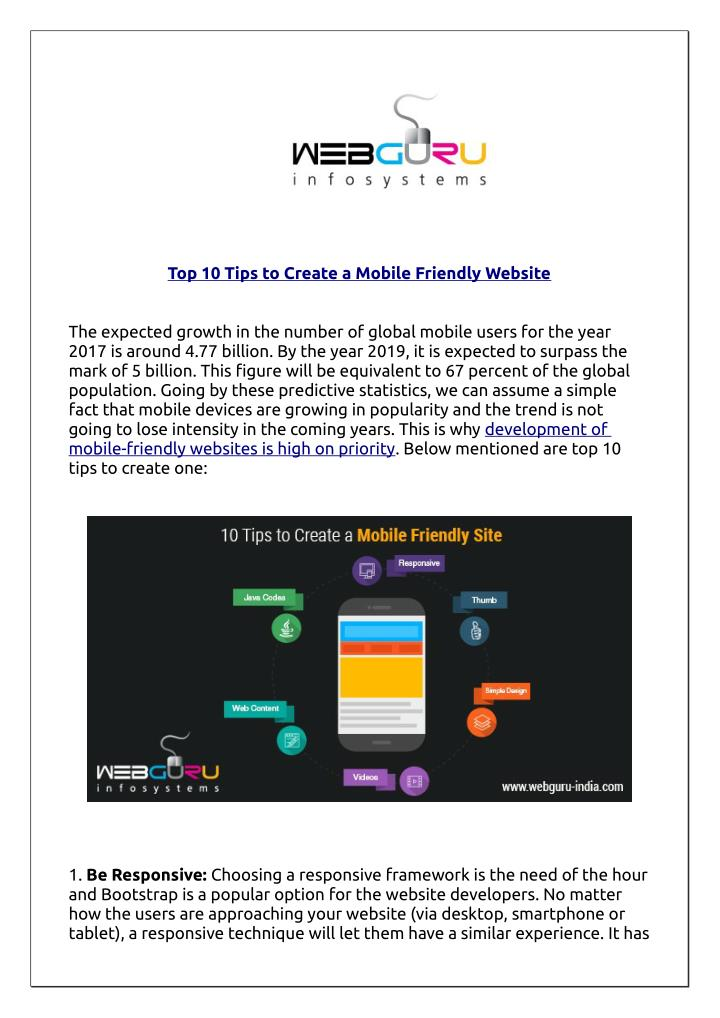 PPT - Top 10 Tips to Create a Mobile Friendly Website PowerPoint Presentation - ID:7468448