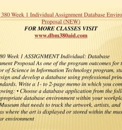 dbm 380 week 1 individual assignment database environment proposal  [ 1024 x 768 Pixel ]