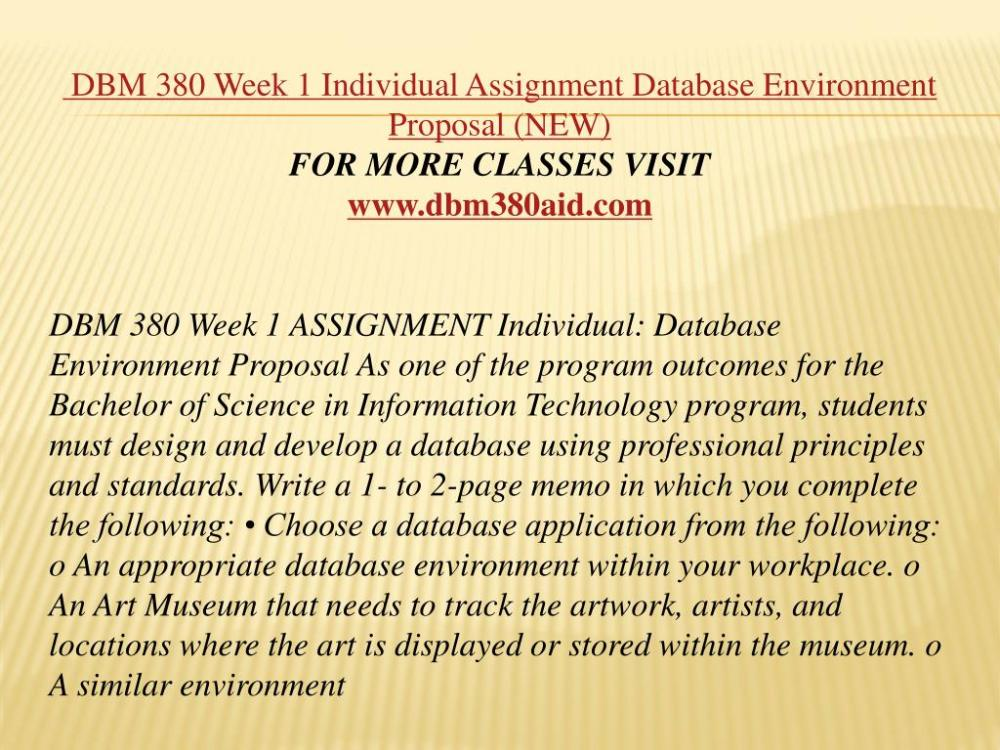 medium resolution of dbm 380 week 1 individual assignment database environment proposal
