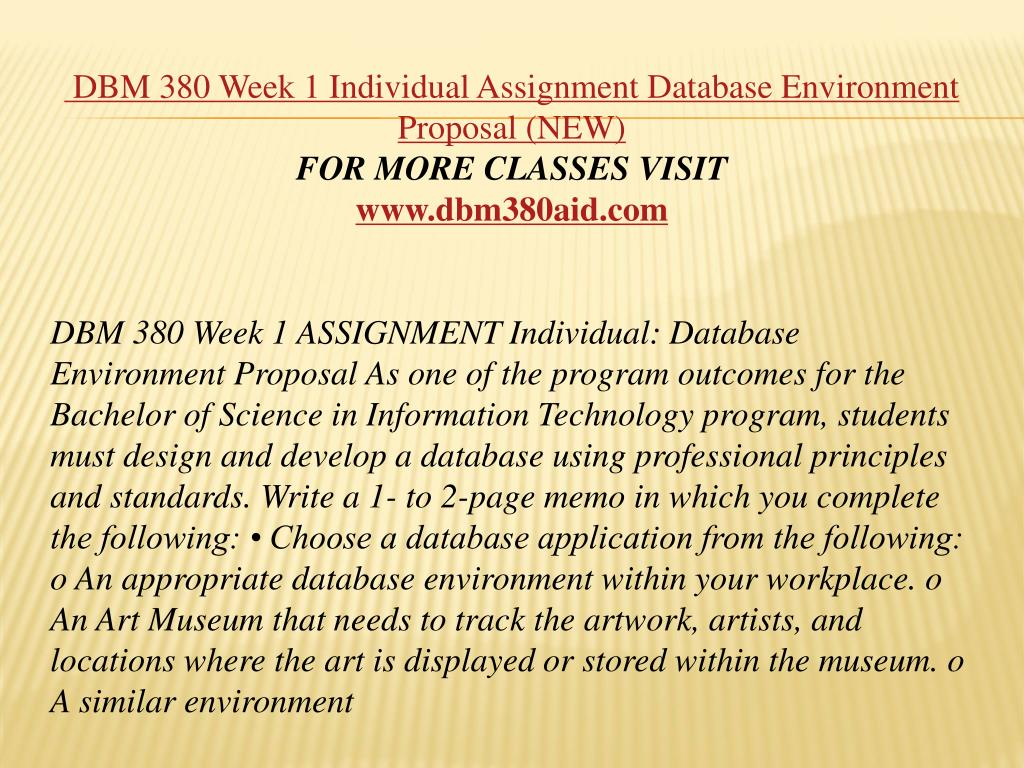 hight resolution of dbm 380 week 1 individual assignment database environment proposal