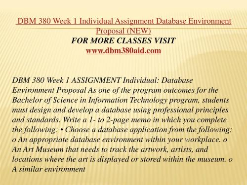 small resolution of dbm 380 week 1 individual assignment database environment proposal