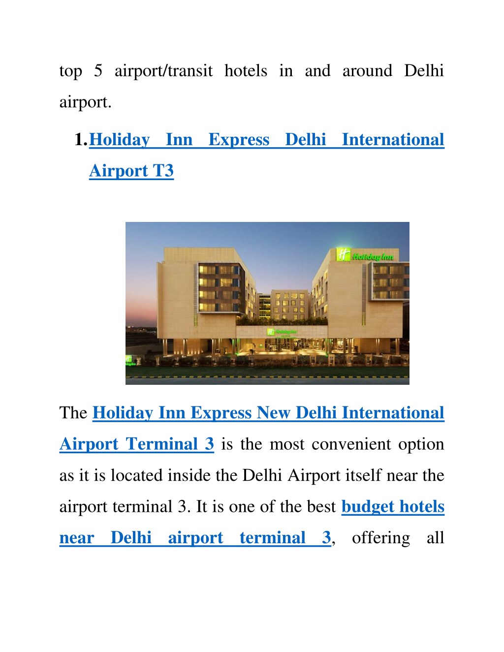 Ppt Top 5 Hotels In Or Around Delhi Airport Powerpoint