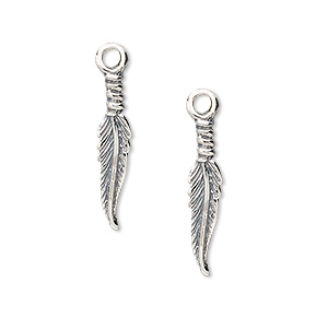 Charm, sterling silver, 20x4mm feather. Sold per pkg of 2