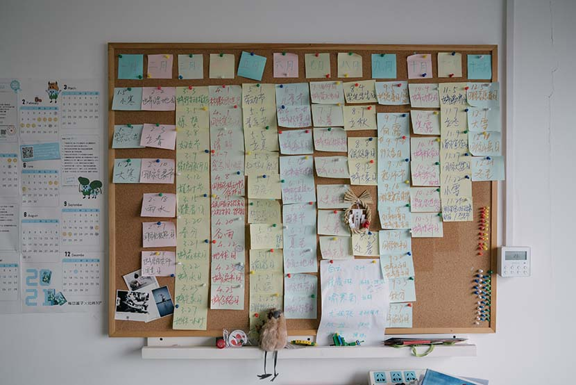 Dates for environmental protection activities are marked on the post-it notes at Zhang Boju's office in Beijing, March 2, 2021. Shi Yangkun/Sixth Tone